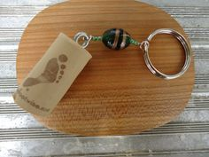 Wine Cork Key Chain with Green and Gold Stone Beads by ConversationGlass, $7.00