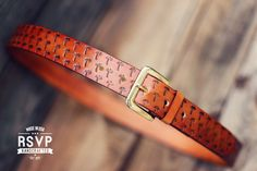 Custom Leather Belt, Handmade personalized gift, Tan stain, Palms tropical, full grain leather belt, Tooled Leather Belt, Men's Leather Belt by RSVPhandcrafted on Etsy https://www.etsy.com/listing/234581585/custom-leather-belt-handmade