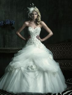wedding gown with lots of awesome elements
