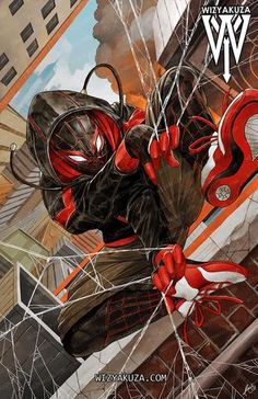 Ultimate Spider-Man/Miles Morales (Into the spider-verse) Spiderman Kunst, Black Spiderman, Spiderman Spider, Amazing Spiderman, Spider Man Comic, Ultimate Spider Man, Marvel Comics Art, Marvel Heroes, Miles Morales Spiderman