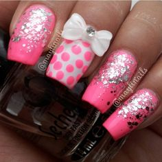 .@cutenailartdesign (Cute Nail Art ) 's- pink and white nails