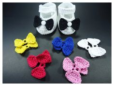 """Crochet Baby shoes, Baby shoes, Custom baby shoes, fashion baby shoes, baby accessories with a 6 set changing bow - Up to 12 cm (4.7"""")"""