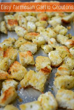 These easy Homemade Parmesan Garlic Croutons are ready to eat in 20 minutes or less! They go great when paired with a side salad for dinner and your family will love them!