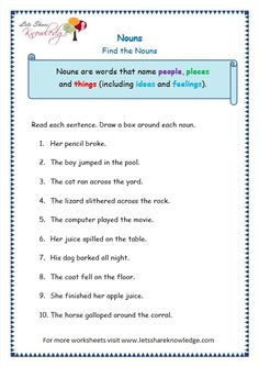 Grade 3 Grammar Topic Nouns Worksheets - Lets Share Knowledge Nouns And Verbs Worksheets, Proper Nouns Worksheet, Worksheets For Class 1, Nouns And Pronouns, English Worksheets For Kids, 2nd Grade Worksheets, English Lessons For Kids, Learn English Grammar, English Writing Skills