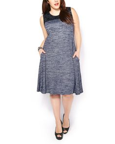 Flirty and fun, this feminine plus-size dress takes you out in style with its delicate lace detail at top, flattering flared fit and soft two-toned knit fabric. With its sleeveless design and scoop neck, it looks great paired with trendy heels! Curvy Girl Fashion, Ladies Fashion, Women's Fashion, Knit Dress, Dress Skirt, Lace Dress, Plus Size Fashion For Women, Plus Size Women, Stylish Dresses