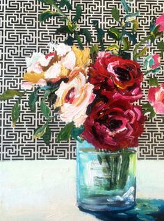Roses Flower Paintings, Botanical Art, Vases, Ali, Glass Vase, Wood, Flowers, Inspiration, Decor