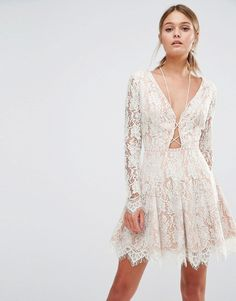 Image 1 of Stylestalker Long Sleeve Allover Lace Mini Dress
