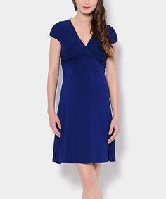 Sapphire Blue Jill Maternity Surplice Dress #zulily #zulilyfinds