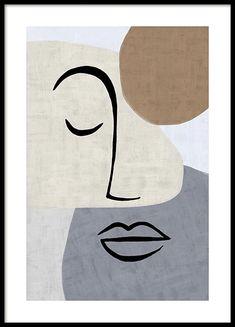 Abstract Line Art Plakat Art Abstrait Ligne, Abstract Face Art, Shape Posters, Art Posters, Diy Canvas Art, Modern Art Prints, Minimalist Art, Art Drawings, Illustration Art