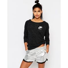 Nike Crew Neck Sweatshirt In Vintage Washed Fabric With Small Logo (93 BGN) ❤ liked on Polyvore featuring tops, hoodies, sweatshirts, black, crew top, crew neck sweatshirts, boatneck top, boatneck sweatshirt and nike sweatshirts
