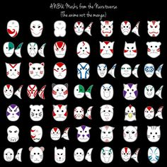 ANBU masks for the five major genin teams in Naruto. Kakashi Anbu, Kakashi No Mask, Anbu Mask, Naruto E Sasuke, Anime Naruto, Mascaras Anbu, Kitsune Maske, Mask Drawing, Susanoo