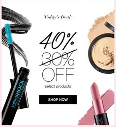 Our Biggest Friday Flash Sale Yet! 40% OFF select products Shop my online store EXPIRES MIDNIGHT ET, 9/16/16. WHILE SUPPLIES LAST. MAIL DELIVERY ONLY.  AvonRep shirlean walker #makeup#fragrance#fashion