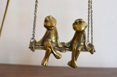 vintage FROGS on a SWING set. BRASS by thevintageholicfrog on Etsy, $41.00