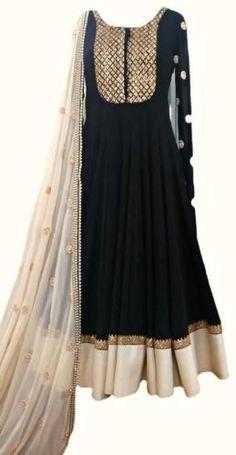 Black-Pearl-Salwar-Kameez-White-Frock-Suit-Indian-Anarkali-Embroidered-Dress