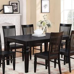 East West Furniture Weston Inch Rectangular Dining Table with Butterfly Leaf, Black Furniture, Dinette Tables, Black Dining Room, Dining Table Setting, East West Furniture, Dining Table, Black Dining Room Sets, High Back Dining Chairs, Small Dining Table Set