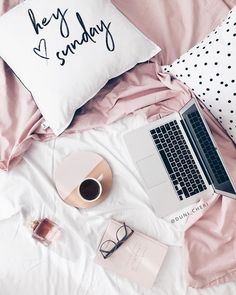 flatlay pink on the bed coffee and macbook <3
