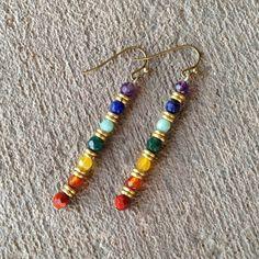 earrings Beaded Earrings Patterns, Diy Earrings, Earrings Handmade, Handmade Jewelry, Hoop Earrings, Chakra Jewelry, Chakra Bracelet, Gemstone Jewelry, Beaded Jewelry