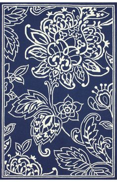Rugs USA Sundeck Indoor Outdoor Floral Blue Rug. 4th of July Sale! Pick from 1 of 2 promotions to save today!  Area rug, carpet, design, style, home decor, interior, design, pattern, trend, statement, summer, cozy, sale, handmade, sale, discount, free shipping, navy, blue.