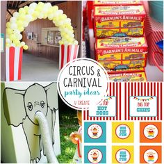 Circus/Carnival Party Ideas - great for The Greatest Showman parties, too! Diy Carnival, Circus Carnival Party, Circus Theme Party, Carnival Birthday Parties, Circus Birthday, Birthday Party Games, Party Themes, Party Ideas, 5th Birthday