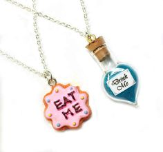 Alice in Wonderland Best Friends Necklace Set - BFF Drink Me & Eat Me Jewelry - Cute, kawaii miniature food from BitOfSugar on Etsy. Bff Necklaces, Best Friend Necklaces, Friendship Necklaces, Cute Necklace, Best Friend Gifts, Gifts For Friends, Bff Gifts, We All Mad Here, Chesire Cat