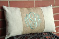 This beautiful 12x16 pillow cover is in a natural linen fabric and has a burlap band that is monogrammed in the Master Circle font. You choose the thread color you would like. The back has an envelope closure with a deep pocket so your insert does not show. This pillow cover looks great as an accent pillow on your bed or sofa, it also makes a great gift.This deal includes the cover only, insert is NOT included.