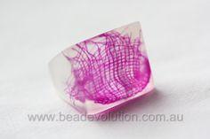 Resin Ring Magenta Gauzy Square Shaped by Beadevolution on Etsy, $28.00
