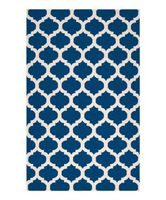 Living Room rug? Take a look at this Royal Blue & Ivory Frontier Rug by Surya on #zulily today!