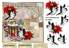 Merry Christmas Window by Marijke Kok Classic card topper for christmas insert available.