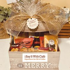 A happy client will keep a happy customer caffeinated! Would you be happy with basket like this? #holidaycreations Coffee Baskets, Happy Holidays, Merry, Gift Wrapping, Gifts, Gift Wrapping Paper, Happy Holi, Presents, Wrapping Gifts