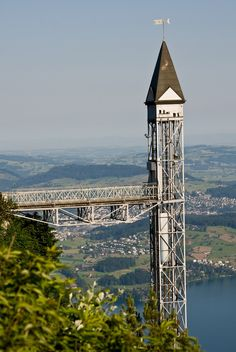 The Hammetschwand Lift is the highest exterior elevator of Europe and is located in Switzerland. It connects a spectacular rock path with the lookout point Hammetschwand on the Bürgenstock plateau overlooking Lake Lucerne. - http://www.theworldgeography.com/2013/04/unusual-elevators.html