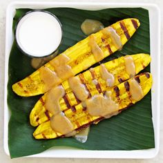 (plantain) Grilled plantain with coconut cream caramel sauce | Tes at Home  #recipe
