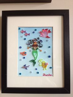 Quilled Mermaid with Fish. $44.95, via Etsy.