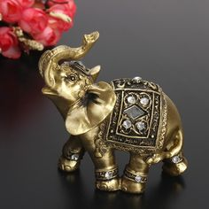 Hot Exquisite Feng Shui Elegant Elephant Statue Lucky Wealth Figurine Ornaments Gift for Home Office Desktop Decoration Crafts Elephant Trunk, Elephant Art, Elephant Gifts, Elephant Home Decor, Elephant Stuff, Elephant Symbolism, Feng Shui Elephant, Feng Shui Wealth, Desktop Decor