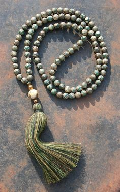 Beautiful Tibetan style agate mala necklace by look4treasures