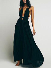 Vestido tirante fino maxi -negro
