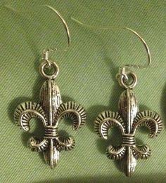 FLEUR DE LIS EARRINGS - Pewter with Sterling Silver Ear Wires (or GP) #Handmade #DropDangle