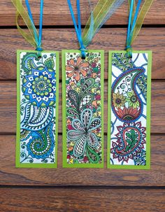 Zentangle Bookmarks  THREE Blue and Green by TheTangledCat on Etsy