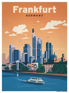 Vintage Travel Image of Frankfurt Poster - Browse all products in the Travel Posters category from IdeaStorm Studio Store. Art Deco Posters, Poster Prints, Retro Posters, Gig Poster, London Poster, Rome Travel, Shopping Travel, Travel Europe, Budget Travel