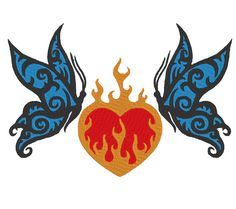 Butterfly Flaming Heart Machine Embroidery Design by OCDEmbroidery