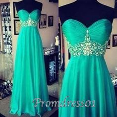 Elegant trurquoise sweetheart dress, beaded chiffon junior prom dress, long evening dress for teens                                                                                                                                                                                 More