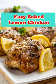 Easy Baked Lemon Chicken This easy baked lemon bird is straightforward! Use chicken thighs or fowl. Oxtail Recipes, Chili Recipes, Crockpot Recipes, Healthy Recipes, Chicken Rice Recipes, Grilled Chicken Recipes, Chicken Ideas, Grilled Meat, Man Food