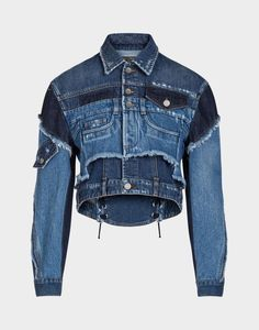 New washes, fits and details for unique and original denim. Patchwork denim jacket embellished with lacing: Diy Jeans, Recycle Jeans, Love Jeans, Denim Patchwork, Denim Fabric, Fashion Mode, Denim Fashion, Fashion Fall, Coats For Women