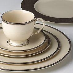Tuxedo Platinum 5-piece Dinnerware Place Setting   FREE Soup Bowl by Lenox