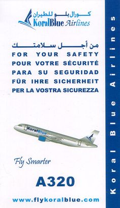 koral blue airlines safety card