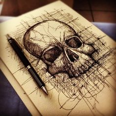 Skull drawing by Felipe Sardenberg - skull designs art fashion and more # Sketchbook Inspiration, Art Sketchbook, Tatoo Crane, Drawing Sketches, Art Drawings, Sketching, Skull Tatto, Totenkopf Tattoos, Art Graphique