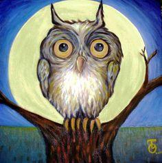 'Coruja En Noite De Lua Cheia' (Owl on a Full Moon Night) by Thelmo Olisar Santos Silveira