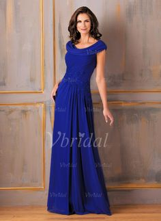 Mother of the Bride Dresses - $139.22 - A-Line/Princess Cowl Neck Floor-Length Chiffon Mother of the Bride Dress With Ruffle Appliques Lace (0085059773)