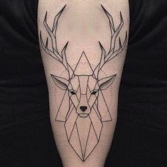 Ideas For Geometric Art Deer Tattoo Ideas Geometric Wolf Tattoo, Geometric Deer, Geometric Tattoo For Guys, Trendy Tattoos, Small Tattoos, Tattoos For Guys, Hirsch Tattoos, Reindeer Tattoo, Stag Tattoo