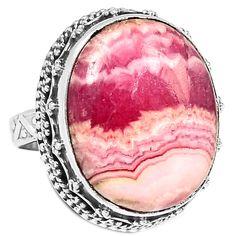 Rhodochrosite 925 Sterling Silver Ring Jewelry s.7 RDOR659 - JJDesignerJewelry