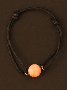 Randi Elyse Coral Ball on a Black Leather Cord